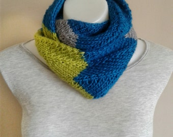 Infinity Scarf, Chevron Stripe, Asymmetric Stripe, Handknit, Knit, Color Block, Blue, Lime Green, Silver Grey