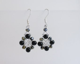 Black Pearl and Silver Earrings