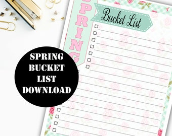 Spring Bucket List Printable Digital Download // Erin Condren Printable / Plum Paper Printable / Planner Insert Digital Download 00139