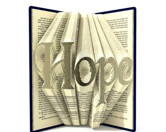 Book folding pattern - Hope - 253 folds + Tutorial with Simple pattern - Heart - WO1801