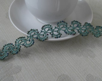 filigree fan wave bracelent with beads
