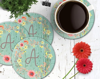 Monogrammed Floral Wreath Coasters, Poppies on Mint Wood, 4 Initial Monogram Coasters, Shabby Chic Coasters, Boho Chic Mouse Pad Coasters
