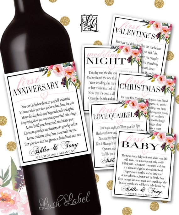 Marriage Milestones Poems Wedding Gift Wine Champagne Bottle Labels ...
