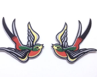 Set of 2 Pcs Swallows patch Embroidered patch Iron on patch sew on patch Applique