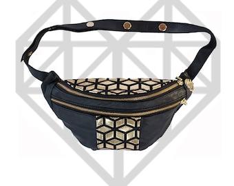 Leather~festival bag~fanny pack~bum bag~rave bag~travel bag~black~designer~soft leather~YKK zippers~lining~fabric~