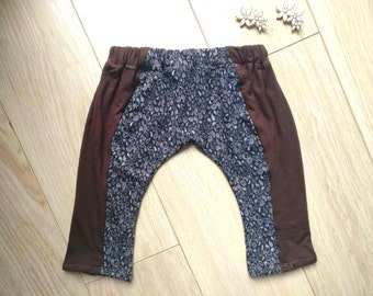 Brown harem pants for baby 6-9 months, baby leggings 6 months, baby harem pants 7 months, baby leggings 8 months, harem pants baby 9 months