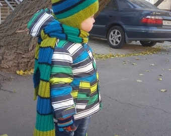 Knitting hat, Knitting scarf, baby hat and scarf with stripes , green hat , striped hat and scarf, winter hat and scarf for baby