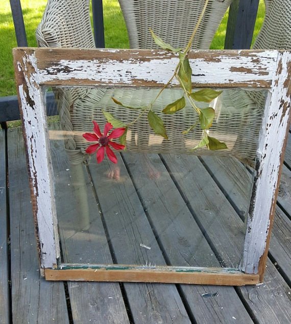 Old Wood Window Frame Single Pane Antique Chippy Painted Primitive Decor Wedding 109 From