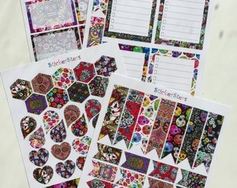 Dia de los Muertos - Day of the Dead Sugar Skulls Layout Boxes Flags Cute Planner Stickers