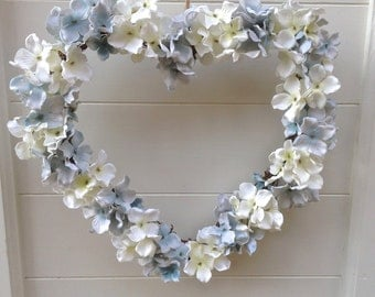 Shabby Chic Wedding Heart Wreath, Duck egg & White Hydrangea Heart Wreath, Wedding Heart, Flower Heart