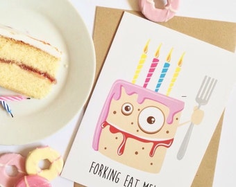 Funny birthday card. Rude pink birthday cake celebration card for sister, friend