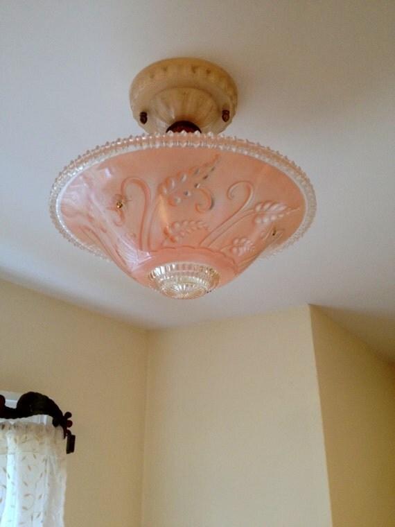 Antique Satin Pink 3 Chain Glass Semi Flush Ceiling Light