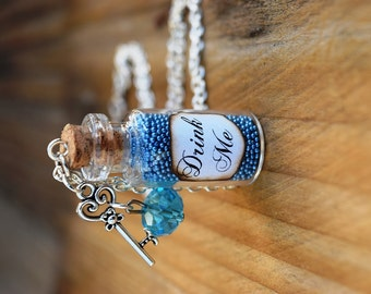 Drink Me Potion Bottle Necklace, Alice in Wonderland Jewelry, Alice Costume, Fairy Tale Necklace, Blue Bottle Necklace, Gift for Alice Fan