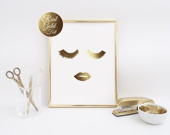 Gold Foil Wall Art lips print fashion print gold lips wall art home office decor