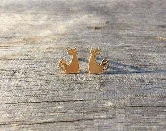 CAT EARRINGS #5!!  Cute earrings, Cute cat earrings, Stud earrings, Gold earrings, Jewelry, Earrings, CatLovers, Pawies, PawiesAnimalLovers