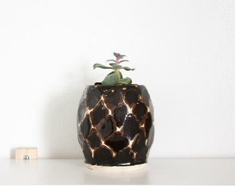 Black, Brown and White Textured Ceramic Planter by Barombi Studios