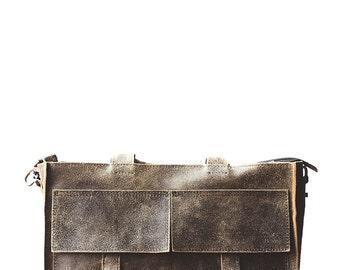 Men's portfolio from natural cow leather. Lifetime leather portfolio / casual messenger bag. Satchel Men's Leather Handbag