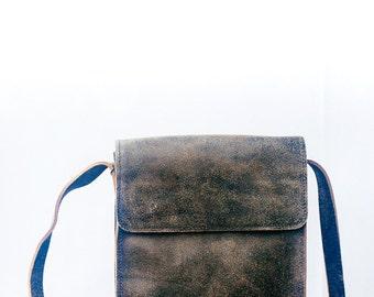 Mens cow leather bag. Stylish rustic mens crossbody bag. Leather shoulder bag / cowboy bag. Slimbag for men. Crossbody bag.