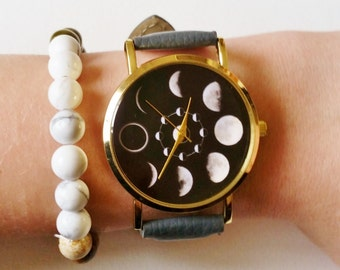 Moon Phases Wrist Watch - moon watch, moon jewelry, womens watches, unique watches, moon phase jewelry, faux leather watch, ladies watches