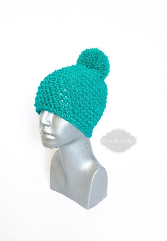Teal Chunky Beanie with Pom, Green Crochet Hat, Dark Aqua Winter Beanie With Puff, Emerald Pom Pom Knit Hat, Bright Green Ski Cap