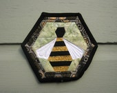 Honey Bee in Hexagon ~ a small wall quilt