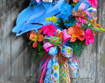 Dolphin Grapevine Wreath, Beach Wreath, Summer Wreath, Pool Wreath