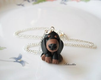 Dachshund necklace,3 colors available,polymer clay