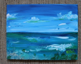 Sea Glass Mosaic Acrylic Ocean Scape Painting by Olivia Rose Art