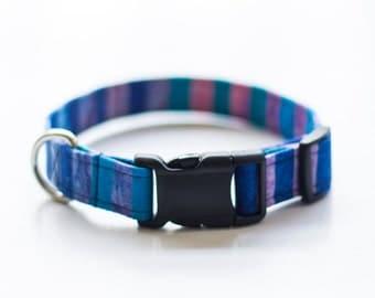 Blue & Purple Striped Dog Collar, Girl Dog Collar, Summer, Pet Collar