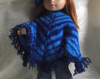 Hand knitted Poncho and Beret for Paola Reina dolls and 16 inch dolls