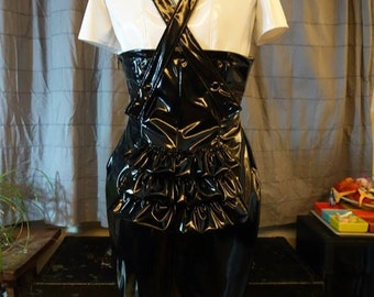 pencil skirt, black PU, high waisted, suspenders, ruffles in the back