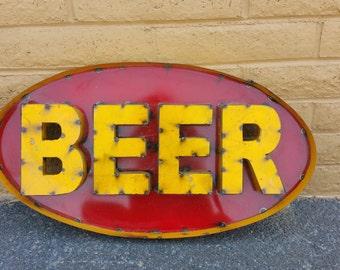 Metal rustic beer sign. metal beer signs. rustic beer signs. beer signs. alcohol signs.