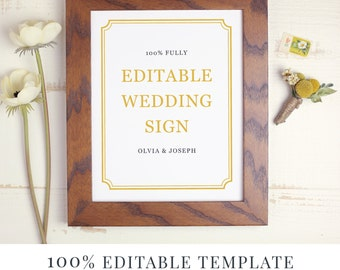 Wedding Sign Template, Editable Sign, Favor Sign, Guestbook Sign, Cards and Gifts, Hashtag Sign, Classic Frame, Instant DOWNLOAD