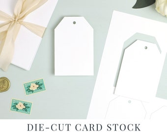 Perforated Hang Tag Template, No-trim Card Stock, Die Cut Paper for Wedding Favor Tags, Hang Tag Paper | Hang Tag Shape No. 8 | 5 sheets