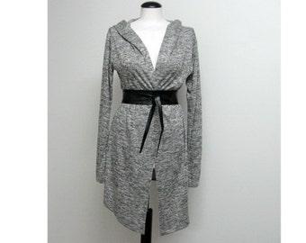 Gray Cardigan Assymetrical hoodie cardigan / sweater tunic hi low / jersey minimalistic belted wrap
