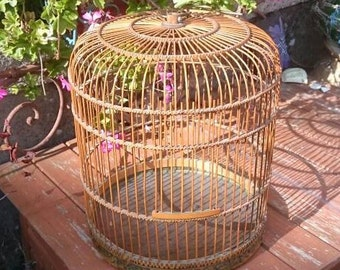 Bamboo and Wood Bird Cage, Vintage Oriental Canary Cage, Conservatory Cage Décor
