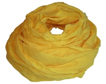 Buttercup Yellow Hand-Dyed Linen Scarf / Women's Scarf / Spring Scarf / Linen Scarf / Large Scarf / Yellow Scarf / Yellow Linen Scarf