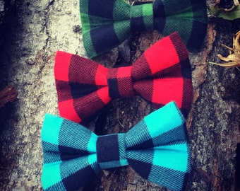 Lumberjack Plaid Dog Bow Tie, holiday dog bow, holiday bowtie