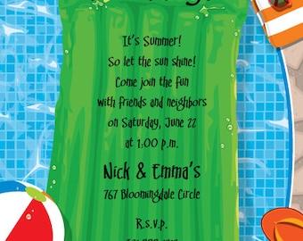 Backyard Pool Party Invitation, Summer Celebration, Splash Party, Birthday Bash Invite, Announcement, Original Digital Invitation IV308