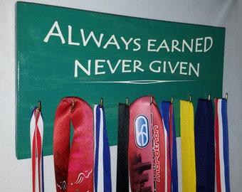 Runner Wooden Medal Hanger 'Always Earned Never Given'