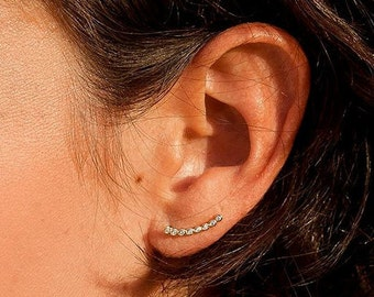 gold ear CLIMBER - Gold ear crawlers - gold ear climbers - dainty jewelry - Gold ear cuff - Minimal jewelry - minimalist ear climber -