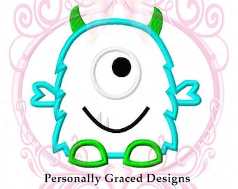 Instant Download Cute Silly One Eyed Monster Applique Embroidery Design 4 Sizes 3in, 4in, 5in, 6in 4x4, 5x7, 6x10 Monster Embroidery Digital