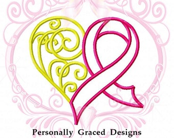 Cancer Ribbon Heart Applique Machine Embroidery Design 5 Sizes 3in, 4in, 5in, 6in, 7in 4x4, 5x7, 6x10 Hoop, Awareness Ribbon, Decorative