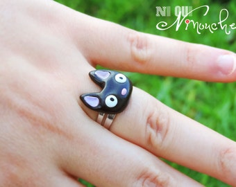 Cat ring adjustable Jiji (fimo) geek miyazaki manga ghibli Kiki the little witch