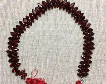 Almandine Garnet, Faceted Marquise Briolette Beads, 4x8mm, Partial Strand