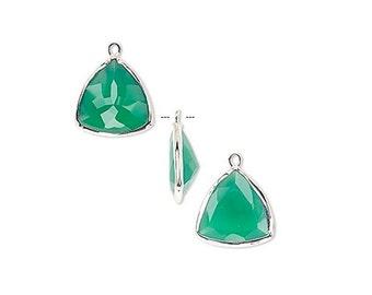 Green Onyx Triangle Drop, Sterling Silver Bezel, Earring Component, 16x16x16mm