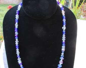 Blue Ice Crystal Necklace 19""