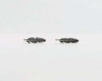 Tiny Feather Sterling Silver Stud Earrings, minimalist stud earrings,  everyday earrings,  925 silver earrings, boho earrings
