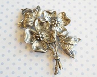 Mid Century Danish Modern Sterling Silver Floral Brooch Pin by Danecraft.