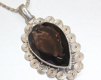 Old nostalgic pendant 925 Silver smoky quartz necklace pendant vintage SK274